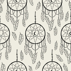 Seamless pattern dream catcher.Vintage bohemian drawing style.