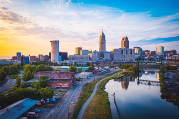 Sunset in Cleveland, United States Fotomurales