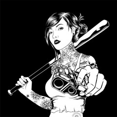 mafia girl handling gun hand drawing vector