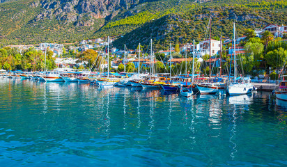 Many luxury boats and yachts in the harbor - Kas, Turkey