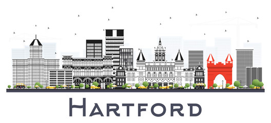 Wall Mural - Hartford Connecticut City Skyline with Gray Buildings Isolated on White.