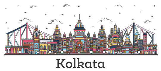 Outline Kolkata India City Skyline with Color Buildings Isolated on White. Papier Peint