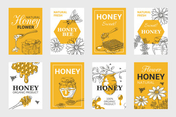 Honey sketch poster. Honeycomb and bees flyer set, organic food design, beehive, jar and flowers layout. Vector hand drawn image natural elements beeswax