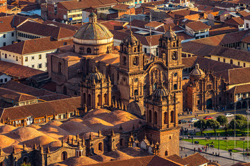 Peru. Cusco - aerial view from Pukamuqu mountain. Fragment of Cusco's main square (Plaza de Armas). There are two well-known churches: the Cathedral Basilica and the Church La Compania de Jesus