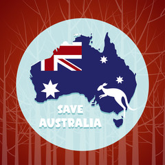 Problems forest fire in Australia,Pray for Australia and forest fire background
