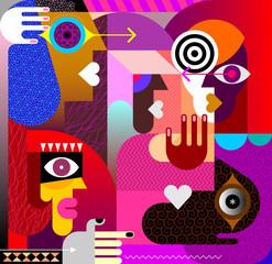 Spoed Foto op Canvas Abstractie Art Five Different People