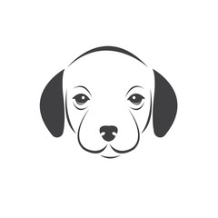 Vector of a Dog head Colour Black. Pet. Animal. logo or icon. symbol. Mammals. Cute. Art picture. on white background