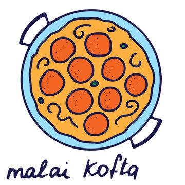 Hand drawn isolated indian food icon. Color fill illustration of indian dish. Malai kofta bowl.