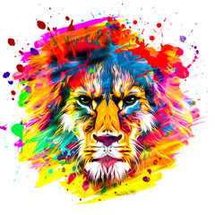 golden artistic lion on white background