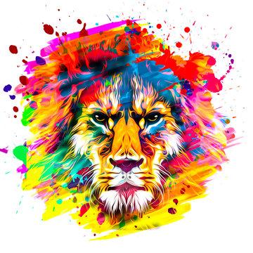 golden artistic lion on white background