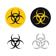 Biohazard warning icon set. Medical waste caution symbol. Biological contamination danger label. Influenza virus epidemic sign. Vector illustration image. Isolated on white background.