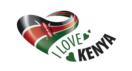 National flag of the Kenya in the shape of a heart and the inscription I love Kenya. Vector illustration Wall mural