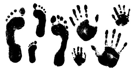 Family prints of hands and feet. Set of handprints and footprints of  woman, man, and children. Vector illustration.