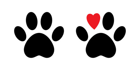 Paw print vector isolated icon. Paw with red heart. Dog paw print. . Black animal paw icon. Love concept.