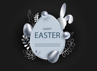 Silver easter egg with decorative elements illustration. Happy easter background, easter design. Copy space text area, vector.