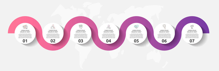 Vector template circle infographics. Business concept with 7 options and parts. Seven steps for content, flowchart, timeline, levels