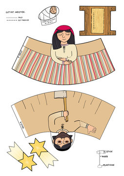 Mary, Joseph, little Jesus and Bethlehem star. Cut and glue. Craft worksheet. Create Christmas decoration yourself. 3d gaming puzzle. Nativity. Vector illustration.