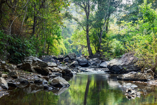 rocks in creek or stream flowing water