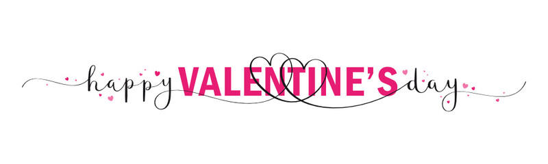Wall Mural - HAPPY VALENTINE'S DAY vector pink and black brush calligraphy banner with swashes and hearts