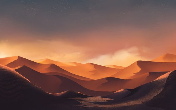 desert landscape in sunset time