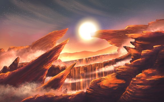 illustration canyon landscape with sunset