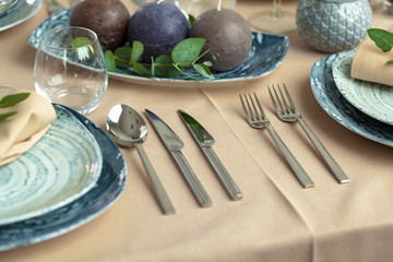 Table setting in restaurant with stylish decorations