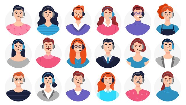 Set of man and woman avatars with headsets. Many beautiful faces are good for telemarketing, call centers, helpline or other businesses. Flat Vector illustration.