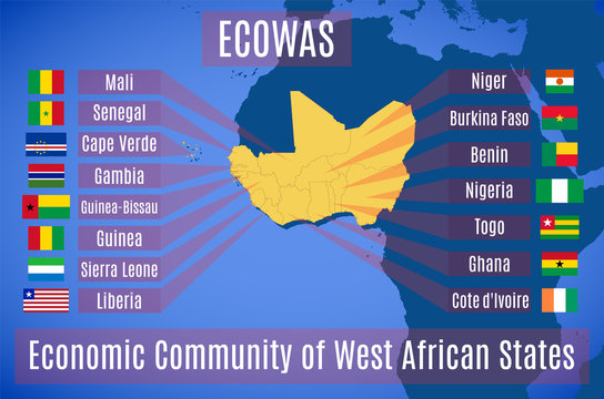 Map and flag of the Economic Community of West African States (ECOWAS).