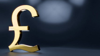 Golden Pound Symbol - 3D Rendering