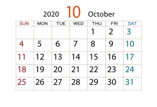 2020年 カレンダー 10月