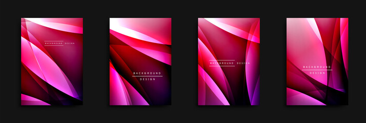 Wave covers set with fluid gradients. Dynamic trendy abstract background with flowing wavy lines. Vector Illustration Wall mural