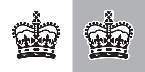 Imperial state crown of the UK ( United Kingdom of Great Britain and Northern Ireland ). Vector Illustration on light and dark backgrounds. Fotoväggar
