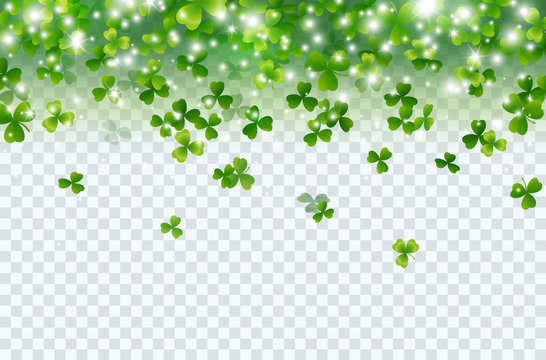 Shamrock falling leaves with lights isolated on transparent background. Green irish symbol Good Luck. Vector clover pattern for Saint Patrick's Day holiday greeting card design.