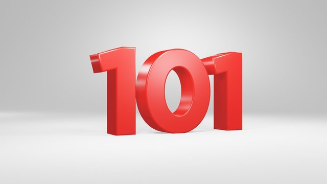 Number 101 in red on white background, isolated glossy number 3d render