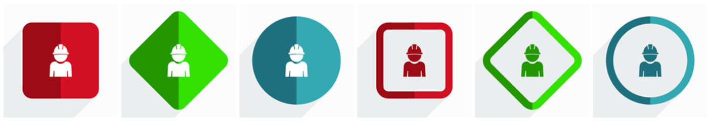 Engineer, worker, manager, employe icon set, flat design vector illustration in 6 options for webdesign and mobile applications in eps 10