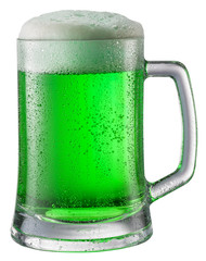 Glass of green beer isolated on a white background.