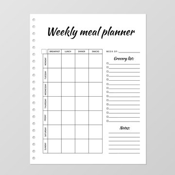 Weekly meal planner template. Blank white notebook page isolated on grey. Food Diary paper sheet. Stationery for planning menu and grocery. Realistic vector illustration.  Minimalist design.