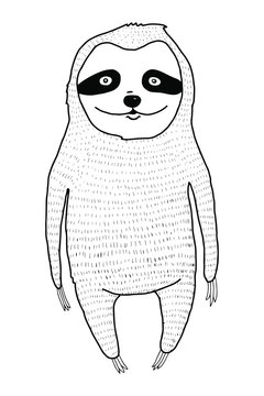 Cute hand drawn cartoon line sloth. Anti-stress coloring for adult. Zentangle style. Black and white lines.