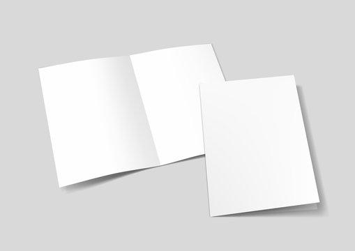 A3 Or A4 White Blank Half-folded Brochure