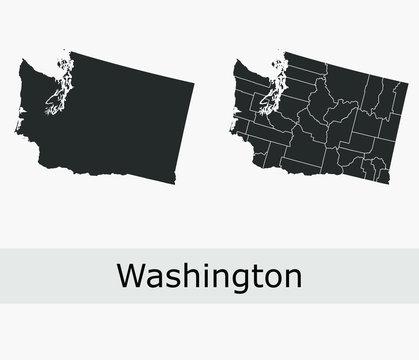 Washington vector maps counties, townships, regions, municipalities, departments, borders