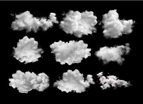 white clouds isolated on black