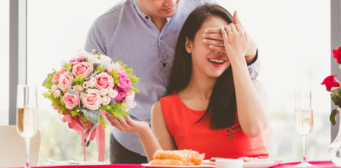 Happy love couple with gift box