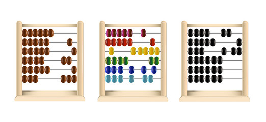 wooden abacus (red, blue, yellow, cyan, green, black and brown links) vector.