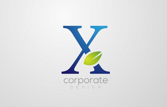 green leaf alphabet letter X logo icon design template