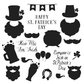 Saint Patrick Day elements and lettering for design. Holiday quotes, leprechaun, mustache, beard, pipe, Irish hat, beer mug and glass, clover and gold pot silhouettes.