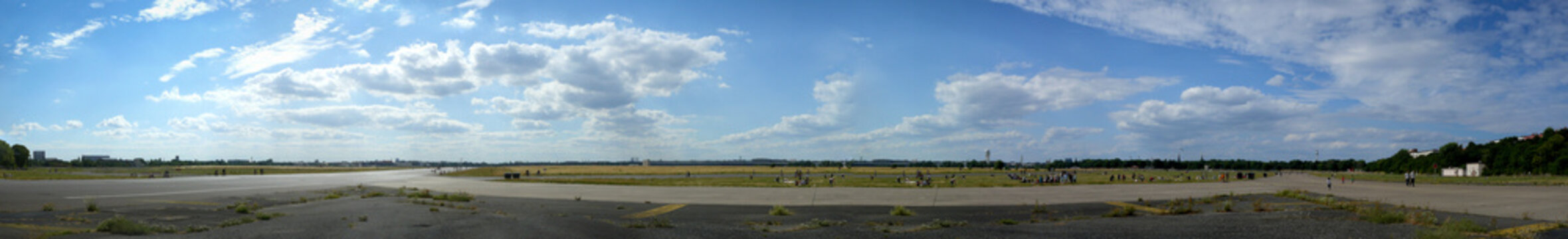 Berlin Tempelhof Airport Against Blue Cloudy Sky
