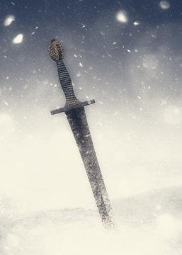 Ancient sword and snowstorm