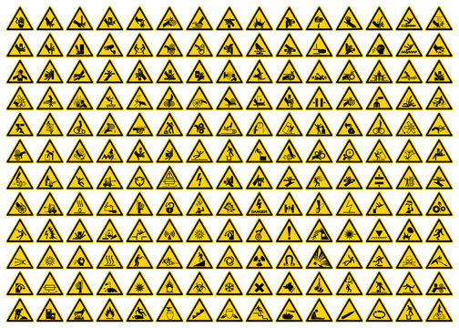Set of Triangle Yellow Warning Sign, Vector Illustration, Isolated On White Background Label .EPS10