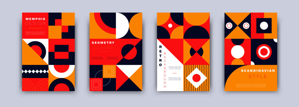 Geometric abstract banners. Bauhaus retro posters set minimal style. Vintage cover design template for banners, placards, flyers, vector isolated illustration