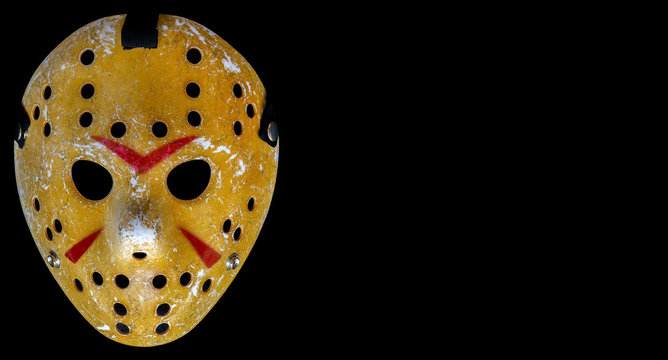 BANGKOK, THAILAND, 26 Jan 2020: Bloody hockey mask worn by slasher Jason Voorhees from the Friday the 13th movie franchise on the black background. Looks awesome on Halloween.